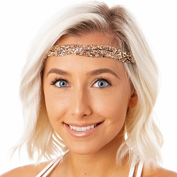 Hipsy Adjustable NO SLIP Bling Glitter Rose Gold Braided Non-Slip Headband