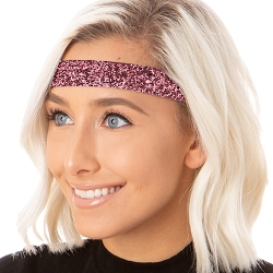 Hipsy Adjustable NO SLIP Bling Glitter Pink Rose Wide Non-Slip Headband