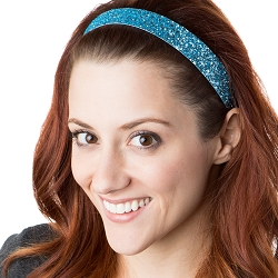 Hipsy Adjustable NO SLIP Bling Glitter Light Blue Wide Non-Slip Headband