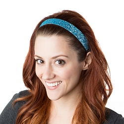 Hipsy Adjustable NO SLIP Bling Glitter Light Blue Wide Headband