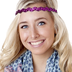Hipsy Adjustable NO SLIP Bling Glitter Fuchsia Wave Non-Slip Headband