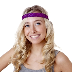 Hipsy Adjustable NO SLIP Bling Glitter Fuchsia Wide Headband