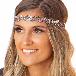 Hipsy Adjustable NO SLIP Bling Glitter Silver Confetti Wave Non-Slip Headband