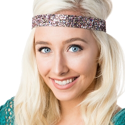 Hipsy Adjustable NO SLIP Bling Glitter Silver Confetti Wide Non-Slip  Headband