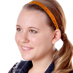 Hipsy Adjustable NO SLIP Bling Glitter Orange Skinny Headband