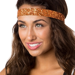 Hipsy Adjustable NO SLIP Bling Glitter Orange Wide Headband