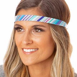 Hipsy Adjustable NO SLIP Blue Stripes Skinny Non-Slip Headband