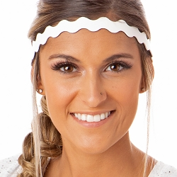 Hipsy Adjustable NO SLIP Basic White Wave Non-Slip Headband
