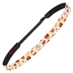 Hipsy Adjustable NO SLIP Cupcakes Yellow Skinny Non-Slip Headband