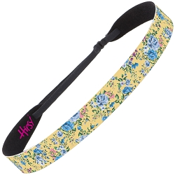 Hipsy Adjustable NO SLIP Country Floral Blue & Yellow Wide Non-Slip Headband