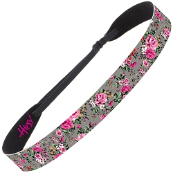 Hipsy Adjustable NO SLIP Country Floral Dark Pink & Grey Wide Non-Slip Headband