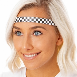 Hipsy Adjustable NO SLIP Checkerboard Black & White Skinny Non-Slip Headband