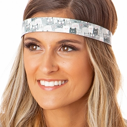 Hipsy Adjustable NO SLIP Cute Cats Grey Wide Non-Slip Headband