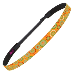Hipsy Adjustable NO SLIP Dotted Circles Orange Skinny Non-Slip Headband