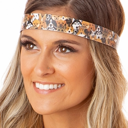 Hipsy Adjustable NO SLIP Love Dogs Brown Wide Non-Slip Headband