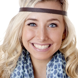 Hipsy Adjustable NO SLIP Faux Leather Brown Skinny Headband