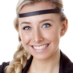 Hipsy Adjustable NO SLIP Faux Leather Black Skinny Non-Slip Headband
