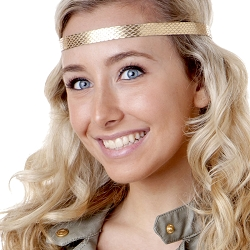 Hipsy Adjustable NO SLIP Snakeskin Gold Skinny Non-Slip Headband