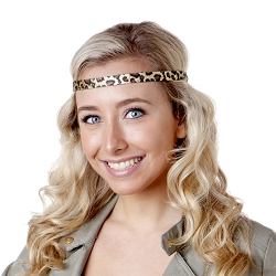 Hipsy Adjustable NO SLIP Leopard Glitter Gold Skinny Headband