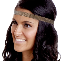 Hipsy Adjustable NO SLIP Geo Sport Brown Skinny Non-Slip Headband