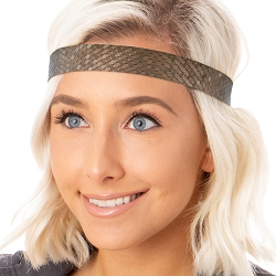 Hipsy Adjustable NO SLIP Geo Sport Brown Wide Non-Slip Headband