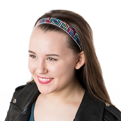 Hipsy Adjustable NO SLIP Herringbone Black Multi Wide Non-Slip Headband