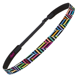 Hipsy Adjustable NO SLIP Herringbone Black Multi Skinny Non-Slip Headband