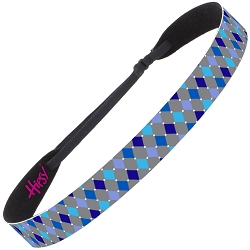 Hipsy Adjustable NO SLIP Harlequin Blue & Grey Wide Non-Slip Headband