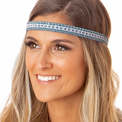 Hipsy Adjustable NO SLIP Sparkly Glitter Boho Green Multi Skinny Non-Slip Headband