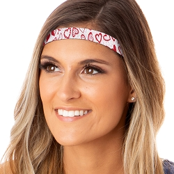 Hipsy Adjustable NO SLIP Sparkly Glitter Valentine's Day Hearts Red & White Skinny Non-Slip Headband