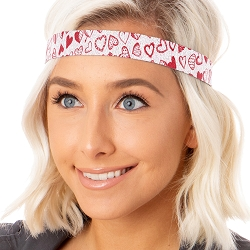 Hipsy Adjustable NO SLIP Sparkly Glitter Valentine's Day Hearts Red & White Wide Non-Slip Headband