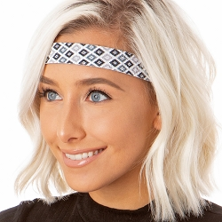 Hipsy Adjustable NO SLIP Sparkly Diamonds Black Wide Non-Slip Headband