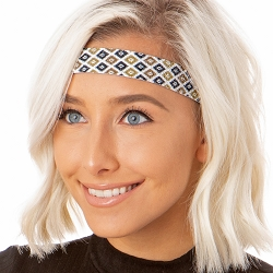 Hipsy Adjustable NO SLIP Sparkly Diamonds Brown Wide Non-Slip Headband