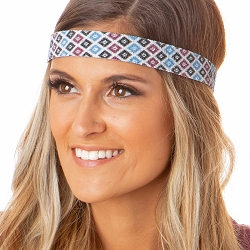 Hipsy Adjustable NO SLIP Sparkly Diamonds Maroon Wide Non-Slip Headband