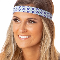 Hipsy Adjustable NO SLIP Sparkly Diamonds Blue Wide Non-Slip Headband