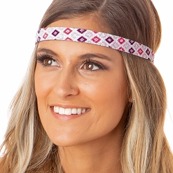 Hipsy Adjustable NO SLIP Sparkly Diamonds Pink Skinny Non-Slip Headband