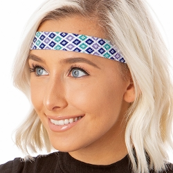 Hipsy Adjustable NO SLIP Sparkly Diamonds Navy Multi Wide Non-Slip Headband