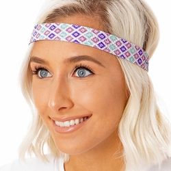 Hipsy Adjustable NO SLIP Sparkly Diamonds Pastel Wide Non-Slip Headband