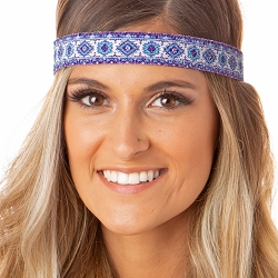 Hipsy Adjustable NO SLIP Sparkly Glitter Tribal Blue & Purple Wide Non-Slip Headband