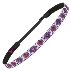 Hipsy Adjustable NO SLIP Sparkly Glitter Tribal Purple & Orange Skinny Non-Slip Headband