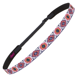Hipsy Adjustable NO SLIP Sparkly Glitter Tribal Pink & Yellow Skinny Non-Slip Headband