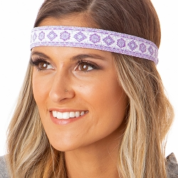 Hipsy Adjustable NO SLIP Sparkly Glitter Tribal Purple Wide Non-Slip Headband
