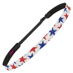 Hipsy Adjustable NO SLIP Sparkly Glitter Red & Blue Stars Skinny 4th of July Non-Slip Headband