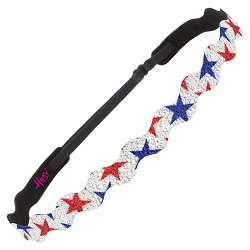 Hipsy Adjustable NO SLIP Sparkly Glitter Red & Blue Stars Wave 4th of July Non-Slip Headband