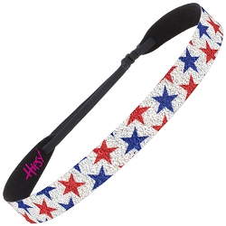 Hipsy Adjustable NO SLIP Sparkly Glitter Red & Blue Stars Wide 4th of July Headband