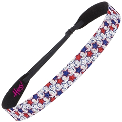 Hipsy Adjustable NO SLIP Sparkly Glitter Mini Stars Wide 4th of July Non-Slip Headband