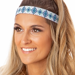 Hipsy Adjustable NO SLIP Sparkly Glitter Aztec Navy & Mint Wide Non-Slip Headband
