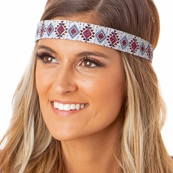 Hipsy Adjustable NO SLIP Sparkly Glitter Aztec Maroon & Blue Wide Non-Slip Headband