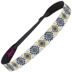 Hipsy Adjustable NO SLIP Sparkly Glitter Aztec Navy & Yellow Wide Non-Slip Headband