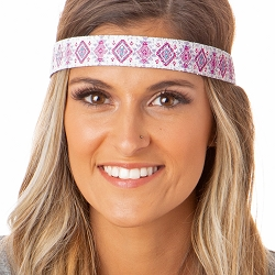 Hipsy Adjustable NO SLIP Sparkly Glitter Aztec Pink Wide Non-Slip Headband